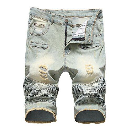 Elecenty Herren Denim Shorts, Männer Jeans-Shorts Strand Shorts Sommershorts Jeanshose Taschen Herrenshorts