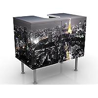 Meuble sous Vasque Design Tokyo 60x55x35cm, Petit, 60 cm de Large, réglable, Table de lavabo, Armoire de lavabo, lavabo…
