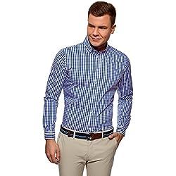oodji Ultra Hombre Camisa Entallada a Cuadros, Azul, 42cm / ES 52 / L