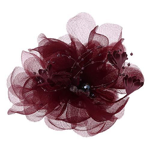 Wanfor Damen Fascinator Brautschmuck Spitze Blume Haarspange Kunstkristall Perlen einfarbig Haarnadel Cocktailschmuck Hochzeit Party Brosche Ornamente (Und Weißen Schwarzen Freunde-halloween-kostüme)