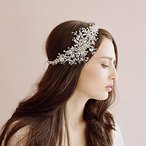 roroz Braut Kristall Haarband, schöne Kristall Braut Haarschmuck, Hochzeit Flash Drill Stirnband Tiara, Braut Accessoires, Braut Brautjungfer Haarspange,Silver