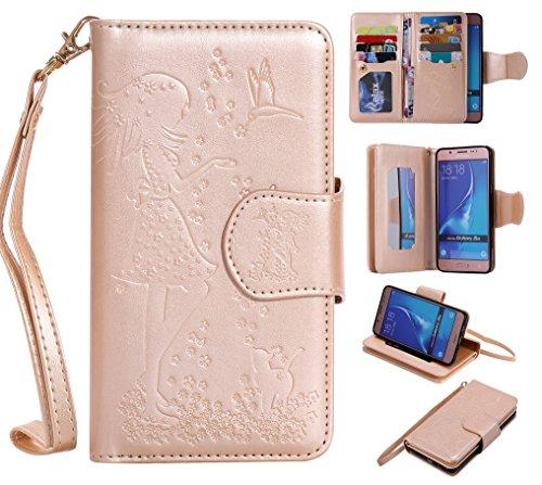Cozy Hut Samsung Galaxy J5 2016 Schutzhülle, [9 Card Slots] PU Leder Flip Wallet Case Leder Tasche Bumper Stand Funktion Kartenfächer Magnet Closure HandyHülle für Samsung Galaxy J5 2016 - golden
