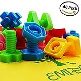 EMIDO 40 Stück Jumbo Nuts Schrauben Spielzeug, Bausteine Sets, Kinder Pädagogische Aufklärung Spielzeug, STEM Spielzeug, Montessori Materialien Fine Motor Spielzeug, Ergotherapie Autismus, Safe Material für Kinder