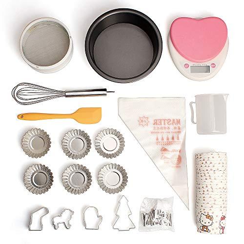 StyleA Cupcakes Decoracion Conjuntos de Boquillas,Tamiz De Harina, Balanza electrónica de Cocina, Batidora de Huevos, Moldes De Tarta, Vaso de Papel, Raspador (62 piezas)