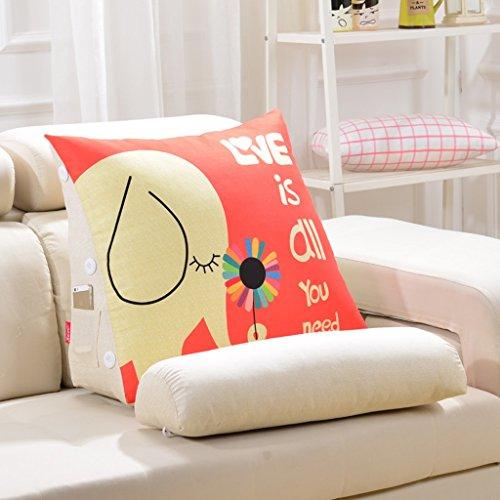 WEBO HOME- Triangle Coussin Oreiller Lit lombaire Oreiller Bureau lombaire Pads Sofa Pillow détachables -Coussin/oreiller (Couleur : 2, taille : 50 * 60 * 22)