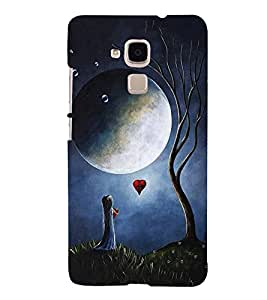 FUSON Small Girl With Moon 3D Hard Polycarbonate Designer Back Case Cover for Huawei Honor 5c :: Huawei Honor 7 Lite :: Huawei Honor 5c GT3