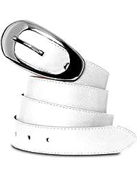 CASPAR GU236 eleganter Damengürtel aus weichem Nappa Leder 3cm breit MADE IN ITALY , Gürtelgröße:100;Farbe:weiss
