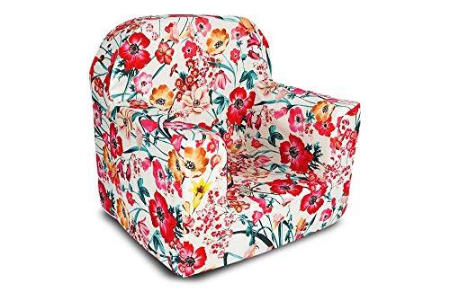 Littel Tiger Mini Sessel für Kinder, Kindersessel - Dekoration - sehr leicht (weiße Blumen)