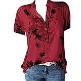 Wtouhe Femme Hauts,2019 ÉTé T-Shirt à Manches Courtes pour Femmes imprimé avec Poche de Grande Taille Tee-Shirt Femme Casual T Shirt Haut Top