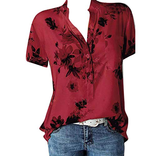 3b49621df2ff Lazzboy T-Shirt Top Women Cold Shoulder Floral V-Neck Button Plus Size  Ladies Loose Blouse Oversized(4XL(20),Red-Polo)