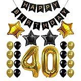 YHLVE 30/40/50/60th Alles Gute zum Geburtstag Party Girlande Bunting Banner Gold Anzahl Ballonparty