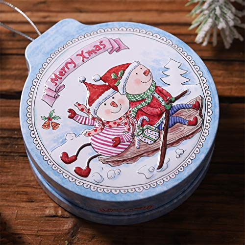ToDIDAF Christmas Tin Candy Box, Tin Gift Box Candy &Cookie Storage Box Hanging Tree Xmas Decor, Storing Tea, Snacks, Candy, Cookie, Jewelry, 12x11x4cm (Blue Snowman)