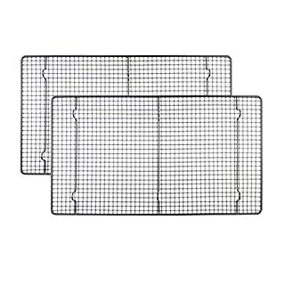 Ankey Kühlregal, antihaftbeschichtet, 48 x 26 cm, Schwarz, Backrost, Backblechform, zum Kühlen von Cookie, Brot, Kuchen, Torten oder Draht, ofenfest