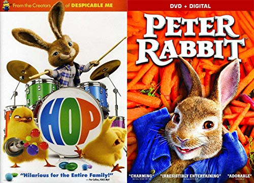 Mischievous Rabbits Chicks & Rock 'n Roll- 2 Movie Family Fun Bundle - Peter Rabbit (2018 Movie) + HOP (2 Pack)