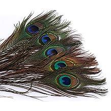 ERGEOB® Plumas del pavo real 25-30 cm / 10-12 pulgadas de longitud de las plumas naturales para la Muestra de Artesanía Carnaval Rose Lunes de Halloween Diko etc.