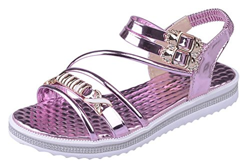 Sommer Sandalen Frauen Strass-Schnalle weibliche Sandalen Lackschuhe komfortable Studenten Pink