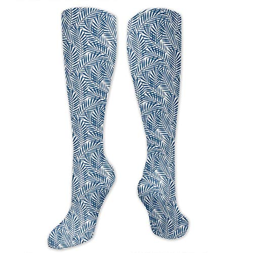 VVIANS Personalized Compression Socks,Tropical Rainforest Inspirations Blue Palm Tree Leaves Abstract Exotic Nature,Best Medical,for Running,Hiking,Varicose Veins,Circulation & Recovery