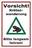Schild - Vorsicht - Kröten-wanderung - Bitte langsam fahren - 30x20cm | stabile 3mm starke PVC Hartschaumplatte – S00359-102-B +++ in 20 Varianten erhältlich