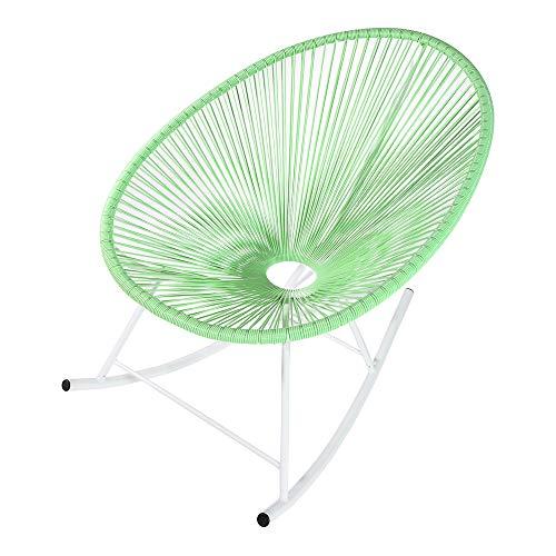 Retro Acapulco Lounge Relax Schaukelstuhl Rocking Chair Rahmen & Füße Pulverbeschichtet Indoor & Outdoor Mint GRÜN Gestell Weiss -