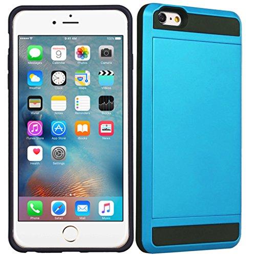 Apple iPhone 4S - Double Couche Slim Armure Hybrid Rigide Housse Étui avec Carte de crédit Carte Support + Gratuit Écran Protection Bleu