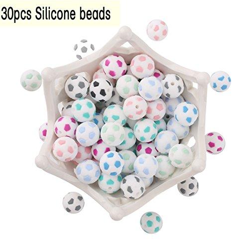 baby tete Baby Soccer Ball Perles de dentition en silicone 15mm/30pcs Bracelet de Bricolage Accessoires de Pince Sucette Attrayant Jouet Naturel pour Nouveau Né