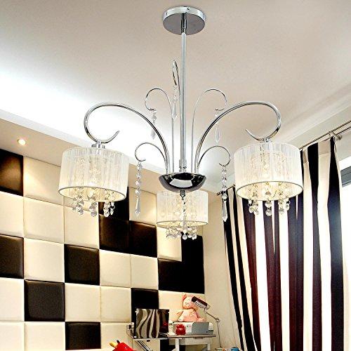 lampadario semplice ed elegante 3-testa di cristallo, luce di cristallo