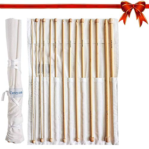 Curtzy set da 14 uncinetti afgani in bambù kit ferri legno 34cm con custodia omaggio- ideale per uncinetto, pizzo e fiori- miglior set principianti e professionisti