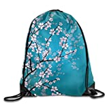 Unisex Japanese Sakura Flowers Print Drawstring Backpack Rucksack Shoulder Bags Gym Bag Sport Bag