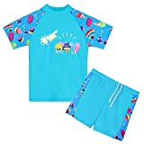 HUANQIUE Girls 2PCS Swimsuit 3-8Y Swimming Set Short Sleeve Swimwear Summer Beach Swimming Costume Outfit Sun suit