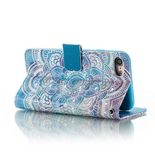 iPhone 7 4.7 Zoll Hülle Ledertasche Schutztasche Case,iPhone 7 4.7 Zoll Bookstyle Magnet PU Leder Handytasche Hülle,Herzzer Mode Prämie [Bunte Grafik Muster] Weich Innere Mit Standfunktion Kartenfach  Blauer Mandala