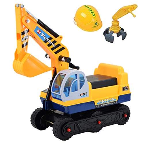 deAO Toys 2in1 Push Power Balance Ride on Excavator Digger Truck with Extra Claw Arm