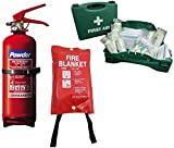 Safety Kit for Home, Office & Car: First Aid Kit, 1kg Dry Powder Fire Extinguisher + Fire Blanket