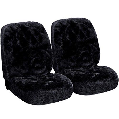 WOLTU AS7334sz-2 Lammfellbezug Auto Sitzbezug Echtlammfell Vollbezug Vordersitzbezug universal Größe, Feste Wolle, Feste Wolle, 2er Set, ca. 1.8 cm Dicke, Schwarz