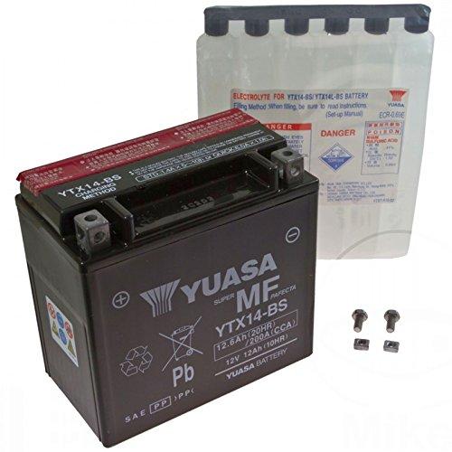 AGM Batterie Buell XB12Scg 1200 i.e. Lightning Short 07-10 Yuasa YTX14-BS Dry 7070709 (Lightning Dry Short)