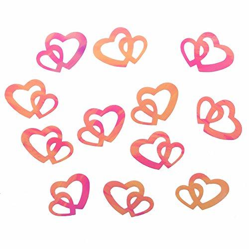 100 Stk Deko Doppel Herzen - silber, rot oder gold (Rosa) - Fransen Herz