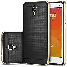 tinxi® Funda de silicona para Xiaomi MI4 Mi4 M4 Caso de silicona TPU + Marco de la PC Caso de la cubierta Design Dorado+Noir