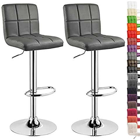 WOLTU 9167-a Set of 2 Swivel Bar Stools with Backs and Footrest Faux Leather Breakfast Kitchen Chair Stools Height Adjustable from 60 to 82cm,Grey