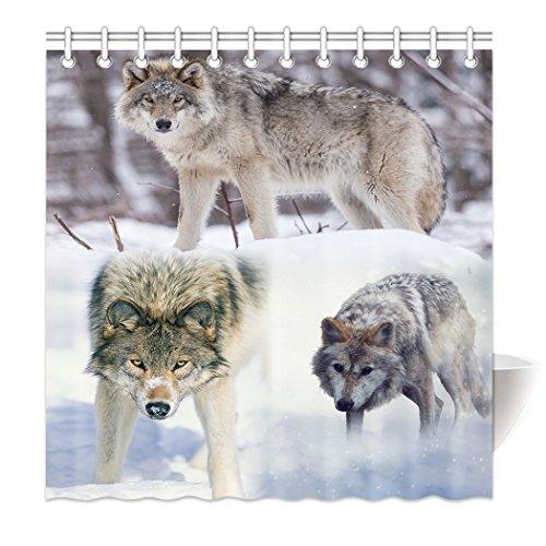 YISUMEI Hem Gewichte Vorhang Duschvorhang Mode Duschvorhänge 160x180 cm Wolf Schnee Wald (Bang Theory Schnee)