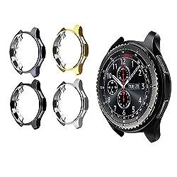 Ruentech Schutzgehäuse für Gear S3 Frontier SM-R760/Galaxy Watch 46mm SM-R800, galvanisiertes Gehäuse mit Fallschutz, stoßdämpfende Schutzhülle für Gear S3/Galaxy Watch 46mm Smartwatch (4 pcs)