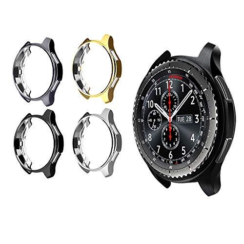 Ruentech Schutzgehäuse für Gear S3 Frontier, SM-R760, galvanisiertes Gehäuse mit Fallschutz, stoßdämpfende Schutzhülle für Gear S3 Smartwatch, 4 pcs