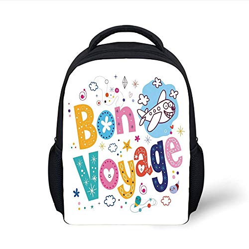 Kids School Backpack Going Away Party Decorations,Happy Message Colorful Cartoon Funny Faced Airplane Journey,Multicolor Plain Bookbag Travel Daypack