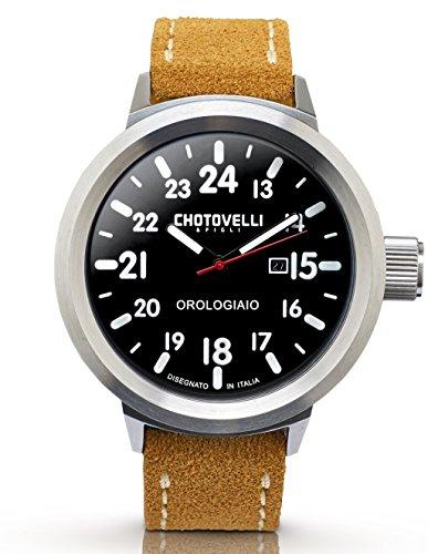 Chotovelli Big Pilot 747/02–Herren Armbanduhr–Edelstahl Analog Display Tan Leder Band Herren Armbanduhr Tan