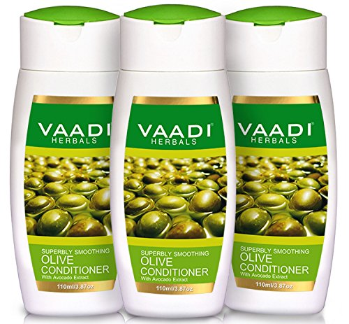 Vaadi Herbals Silky Smooth Conditioner, Olive Oil Conditioner with Avocado Extract, Herbal Conditioner, Sulfate Free, Paraben Free  Scalp Therapy, Moisture Therapy, 3  X 110ml   - Olive Avocado