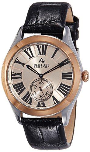 August Steiner Hommes de montre à quartz avec cadran argenté, affichage analogique et sangle en cuir marron as8203bkr