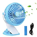 Clip on Fan, Innislink Mini Desk Fan Portable Rechargeable Battery Operated for Laptop Table Workout Baby Stroller Car Camping Home Office Table USB Fan Battery Fan Clip Fan Desk Fan (blue)