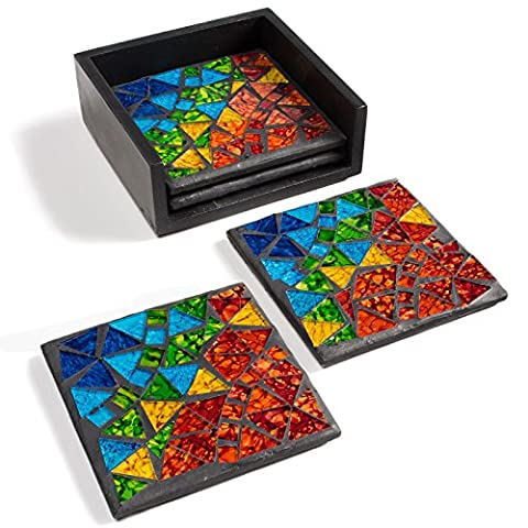 Fabriqué à la main Mosaïque arc-en-ciel Lot de 4dessous de verre avec support Ð Ð Multicolore Vert Bleu Orange Jaune Rouge 9,5x 9,5cm, Verre, Green Blue Orange Red Yellow, 9.5x9.5cm
