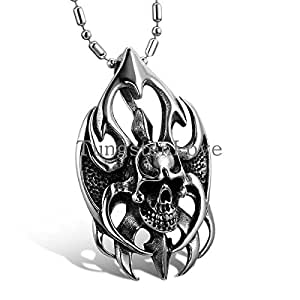 UK-S-DESIGN Vintage Men Jewelry Cool Silver Stainless Steel Flame Skull Pendant Men Necklace Fashion Jewelry for Men 2015