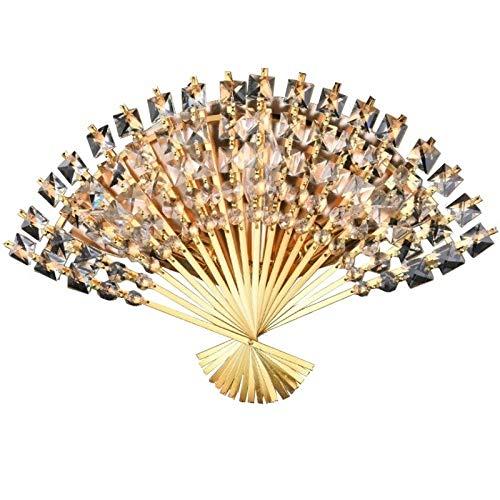 Dfeil moderno creativo a forma di ventaglio di cristallo lampada da parete camera da letto corridoio corridoio corridoio in ferro battuto applique da parete soggiorno studio corridoio e14 * 3 applique