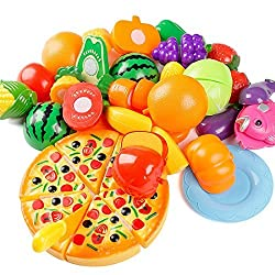 24 Pcs Plastic Fruit Vegetable Kitchen Cutting Toy, Yifan Early Development And Education Toy For Baby Kids Children