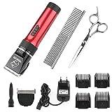 Tierhaarschneider für Katze, Wiederaufladbarer Wireless Hund, Haustier - Professionale Elektrische Haarschneidemaschine für Grooming (Rot)